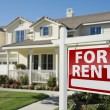 For Rent Real Estate Sign in Front of House — Stock Photo #5177596