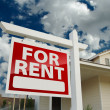 For Rent Real Estate Sign in Front of House — Stock Photo #5177597