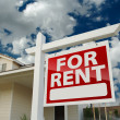 For Rent Real Estate Sign in Front of House — Stock Photo #5177600