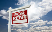 Right Facing For Rent Real Estate Sign Over Sunny Sky — Stock Photo
