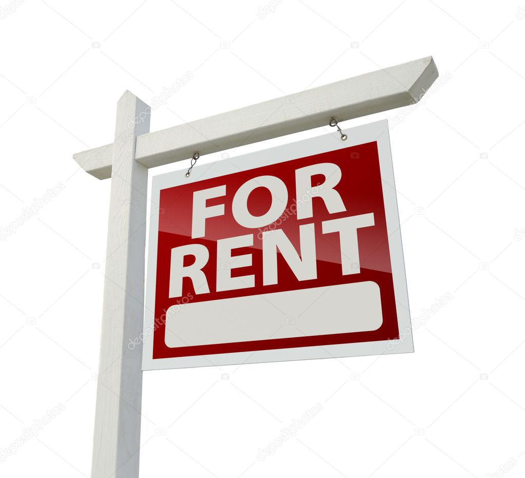 Sign For Rent: Right Facing For Rent Real Estate Sign On White