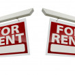 Pair of For Rent Real Estate Signs on White — Stock Photo #5184337