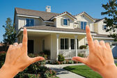 Female Hands Framing Beautiful House — Stock Photo
