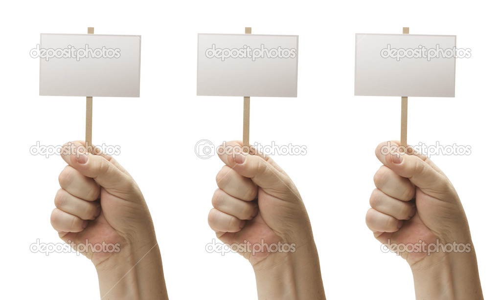 Three Blank Signs In Male Fists Isolated on a White Background.  Stock Photo #5203452