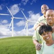 Happy African American Family and Wind Turbine — Stock fotografie