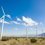 Dramatic Wind Turbine Farm in the Desert — Stock Photo