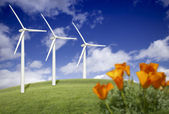 Wind Turbines Against Dramatic Sky and California Poppies — Stock Photo