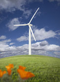 Wind Turbine Against Dramatic Sky and California Poppies — Foto Stock