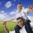 Hispanic Father and Son Having Fun Together — Stok fotoğraf