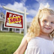Cute Girl in Yard with Sold For Sale Real Estate Sign and House — Stock fotografie #5279244