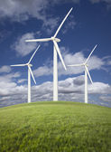 Wind Turbines Over Grass Field, Dramatic Sky and Clouds — Stock Photo