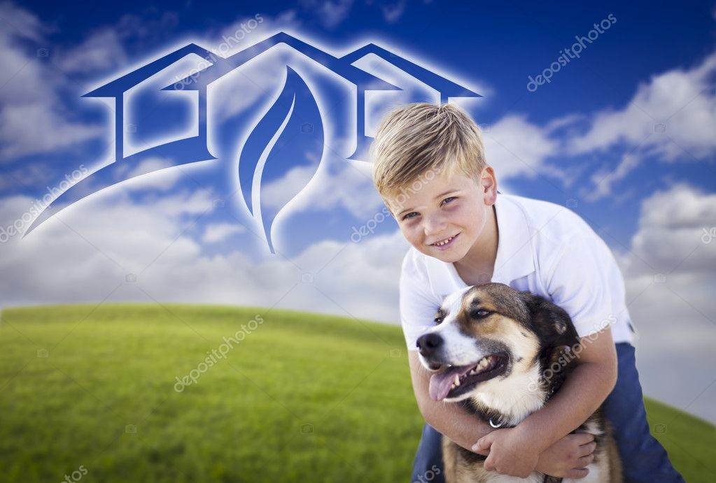 Adorable Boy and His Dog Playing Outside with Ghosted Green House Graphic in The Blue Sky. — Stock Photo #5271018