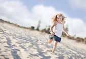 Adorable Little Girl Having Fun at the Beach — Stock Photo