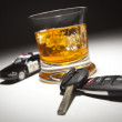 Highway Patrol Police Car Next to Alcoholic Drink and Keys — Stock Photo