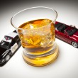 Police and Sports Car Next to Alcoholic Drink with Ice — Stockfoto
