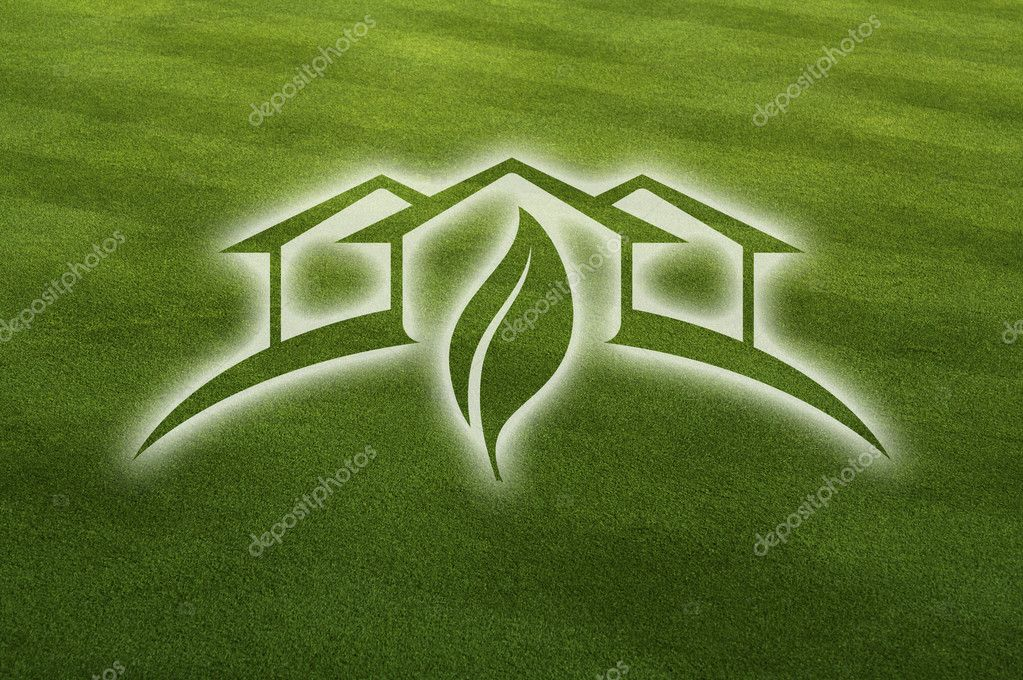 Ghosted Green House with Leaf Over Fresh Cut Grass Field. — Stock Photo #5338977