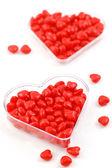 Cinnamon candy hearts — Stock Photo