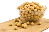 Chick peas in glass dish — Stock Photo