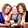 Party. Three cheerful girls — Stock Photo