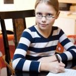 Portrait of 9-10 years old schoolgirl — Stock Photo