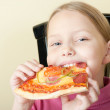 Cheerful little girl with pizza — Stock Photo #4153568