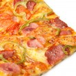 Delicious pizza on white — Stock Photo