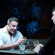 Two gamblers with cards — Stock Photo