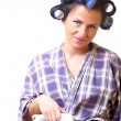 Displeased housewife with iron — Stock Photo