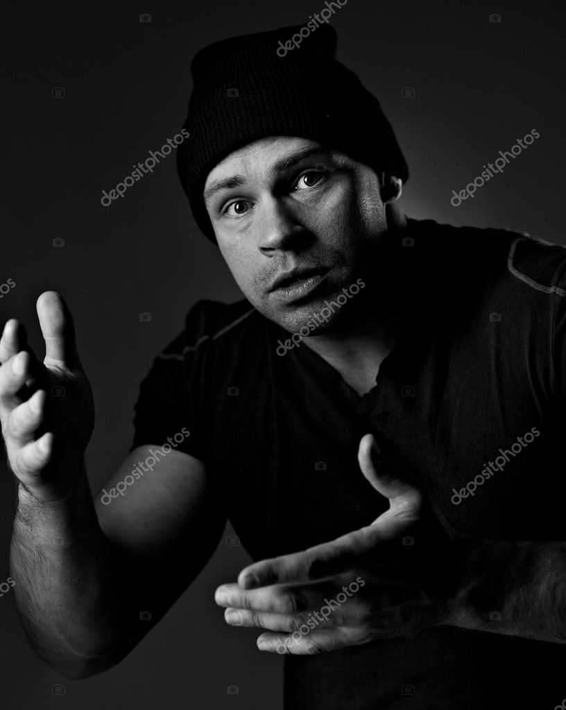 Portrait of funny man in hat — Stock Photo #4446494