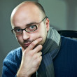 Portrait of a bald man in glasses — Stock Photo