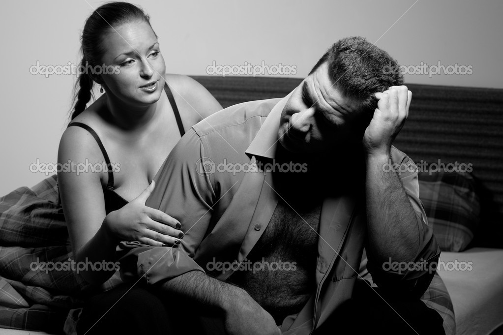 Young couple having relationship problems, in bedroom  Stock Photo #4528703