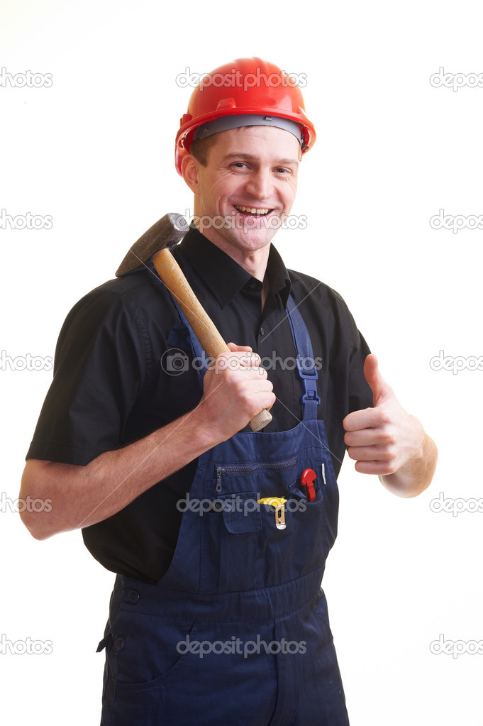 Portrait of worker in red hard hat isolated on white — Stock Photo #4937546