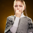 Crying little girl with displeased face — Stock Photo #4961083
