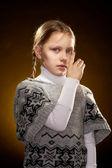 Piangendo la ragazza con il viso dispiaciuto — Foto Stock
