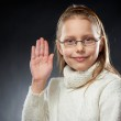 Portrait of a cheerful little girl in eyeglasses — Stock Photo #5248297