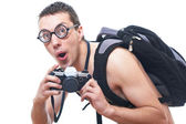 Portrait of a young nerd with old fashioned camera — Stock Photo