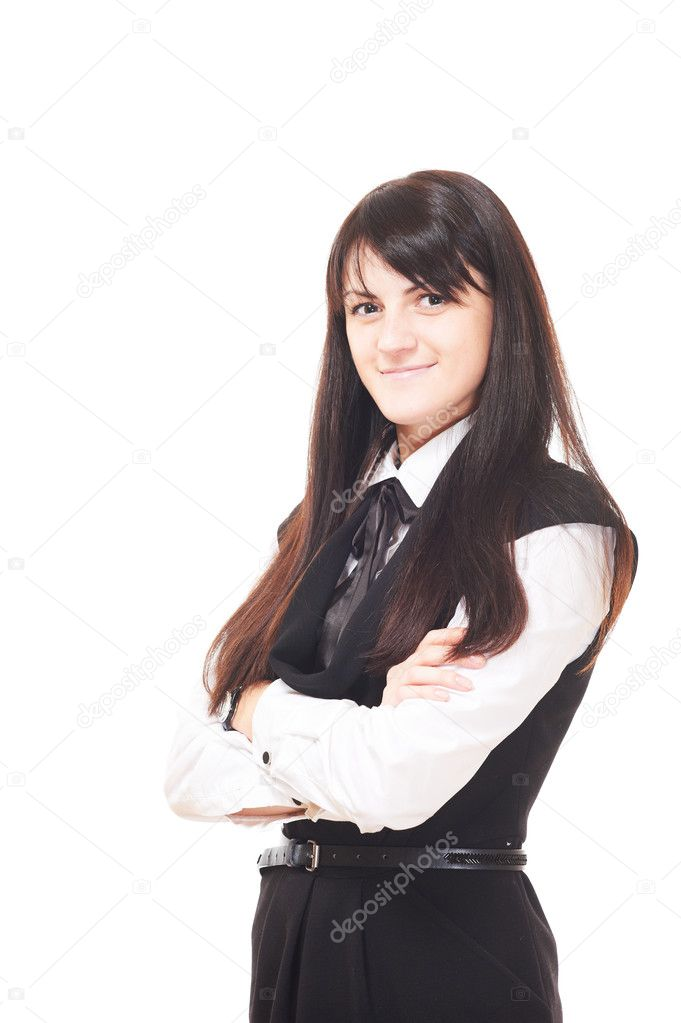 Beautiful european brunette young girl over white background — Stock Photo #5334659