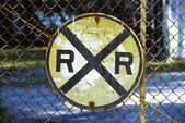 Railway Crossing Sign — Stock Photo