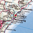 Sydney on a map - Stock Photo