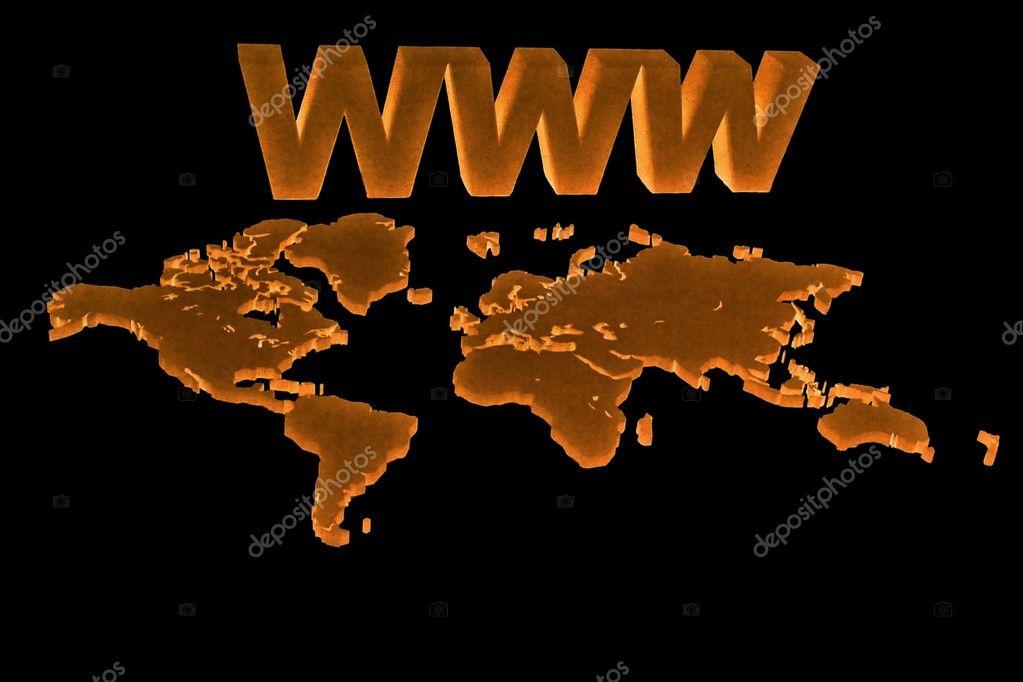 空白世界地图与 www 概念上黑