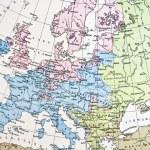 mapa antiguo o a Europa. hecho a mano en 1881 — Foto de Stock