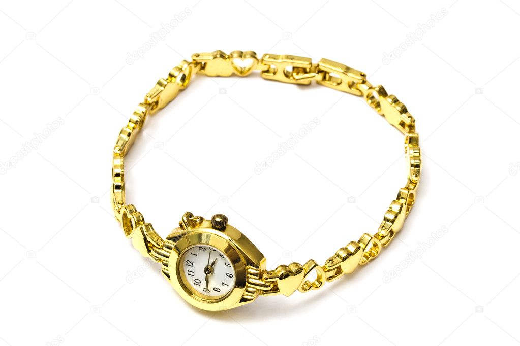 Woman golden wrist watch isolated on white background   Stock Photo #4483619