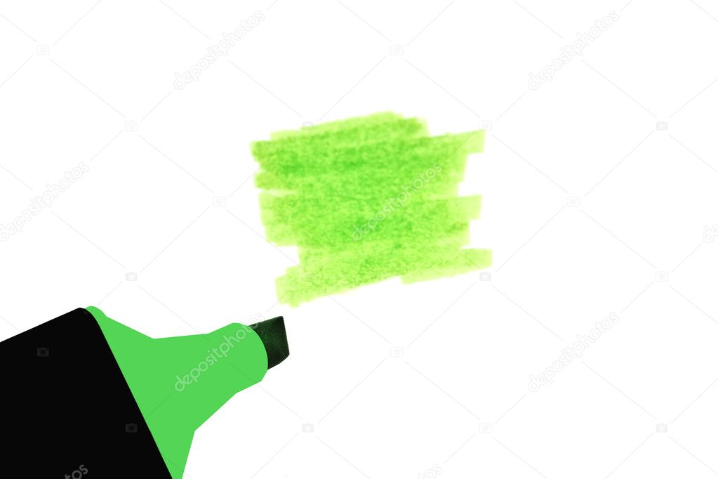 Green highlighter isolated on white background — Stock Photo #4499652