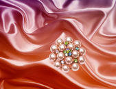 Brooch closeup on silk background — ストック写真