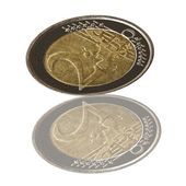 Euro coin and reflection — Stock Photo