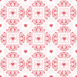 Valentine's hearts and floral pattern — Stock Photo