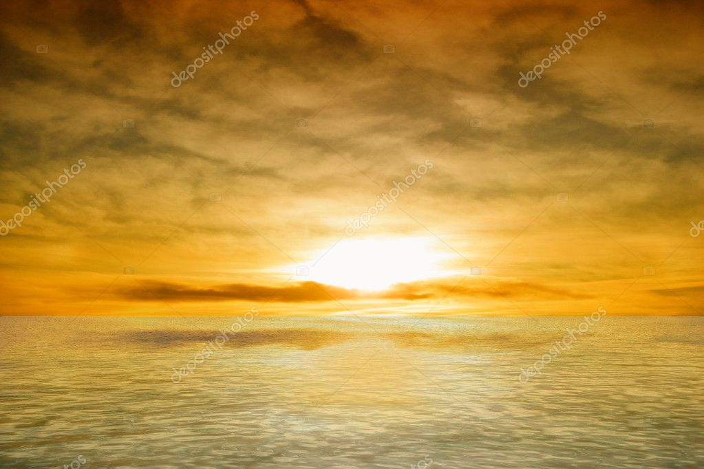 Beautiful sunset over the sea. Red sky and calm sea — Stock Photo #4923624