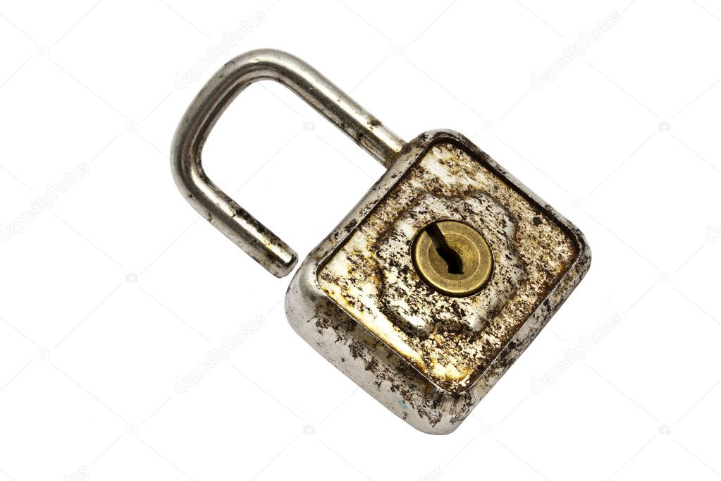 Old padlock isolated on white background  — Stock Photo #5247212