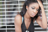 Depressed black woman — Stock Photo