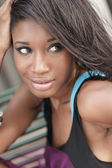 Headshot of a young black model — Stock Photo